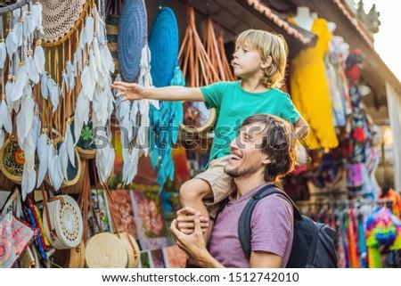 Bannière longtemps format papa fils marché Photo stock © galitskaya