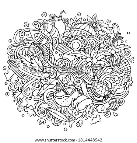 Seychelles hand drawn cartoon doodles illustration. Funny travel design. Stock photo © balabolka