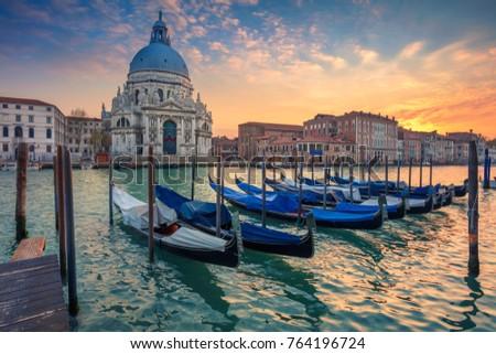 View of Venice Grand Canal and Santa Maria della Salute church on sunset Stock photo © dmitry_rukhlenko
