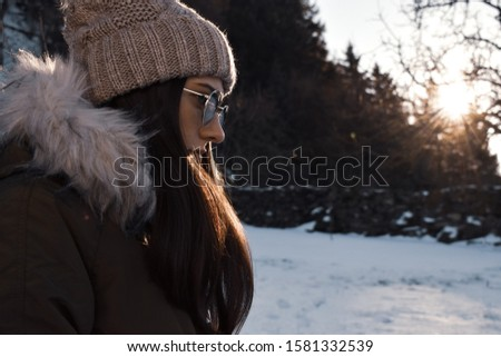 20-25 years old beautiful woman in christmas hat and swimsuit wi Stock photo © HASLOO