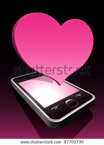 3d smartphone with pink heart hovering Stock photo © adrian_n
