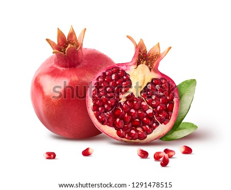 granada · aislado · blanco · alimentos · hoja · frutas - foto stock © m-studio