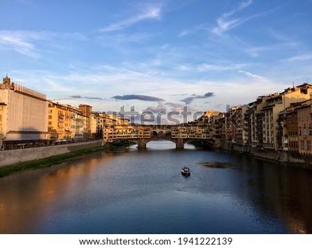 Floransa · köprü · su · şehir · gece · gündoğumu - stok fotoğraf © lianem