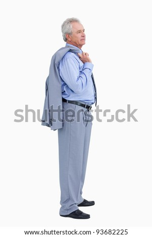 Side view of mature tradesman with his jacket over his shoulder against a white background Stock photo © wavebreak_media
