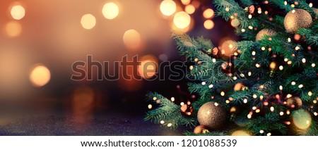 karácsony · új · év · díszített · arany · minta · piros - stock fotó © lenaberntsen