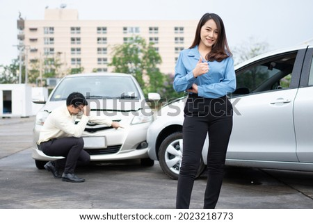 férfi · nő · érv · forgalom · baleset · mérges - stock fotó © monkey_business