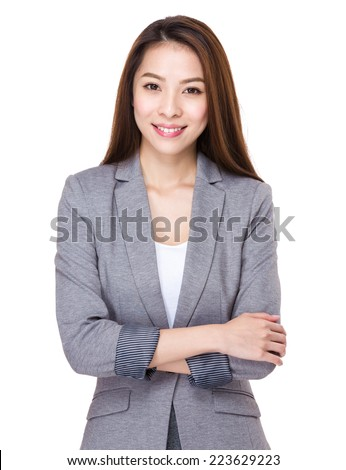 portret · glimlachend · asian · zakenvrouw · permanente · armen - stockfoto © monkey_business
