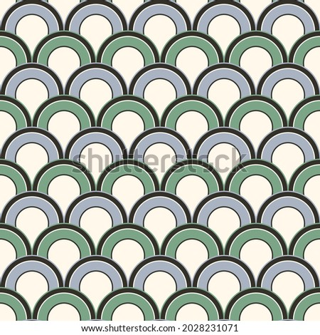 retro squama vector green seamless pattern in ar deco style Stock photo © Galyna