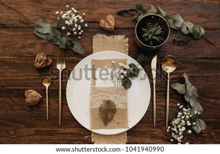 details on wedding table setting decorated in rustic style wed stock photo © yatsenko