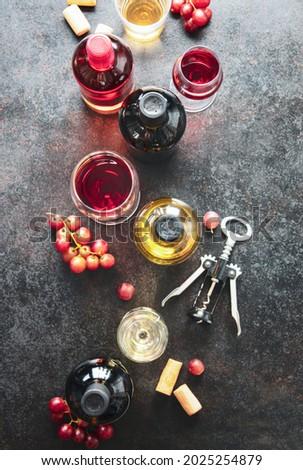 wine snack set glass of red wine grape and various sorts chees stock photo © yatsenko