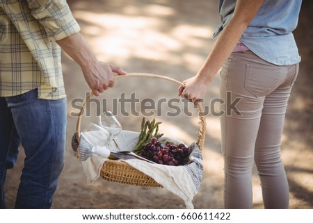 Mid section of couple carrying basket at farm Stock photo © wavebreak_media