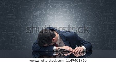 Teacher fell asleep at his workplace with full draw blackboard concept Stock photo © ra2studio