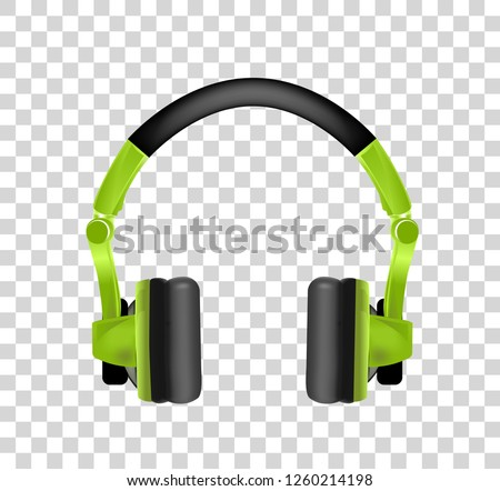 Trendy youth wireless green headphones. Realistic vector illustration on transparency background. Stock photo © m_pavlov