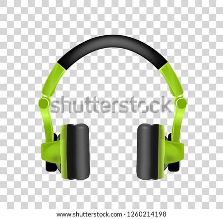 Modieus jeugd draadloze groene hoofdtelefoon realistisch Stockfoto © m_pavlov