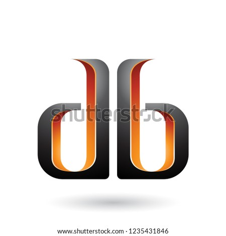 orange and black double sided shape of letter b vector illustrat stock photo © cidepix