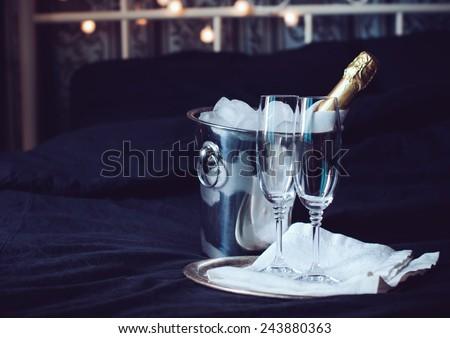 dois · óculos · champanhe · preto · coupe - foto stock © dash