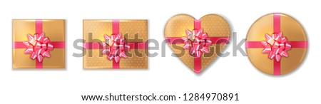 golden giftbox set with pink bow vector realistic product place stock photo © frimufilms