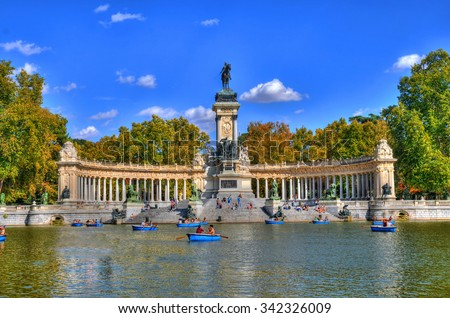 Park Madrid bloem Spanje boom stad Stockfoto © borisb17