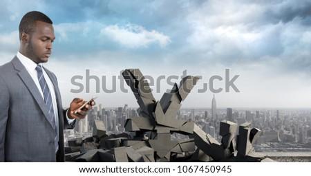Roto concretas piedra yen símbolo empresario Foto stock © wavebreak_media