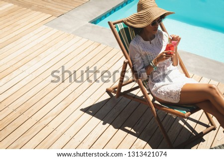 Vista lateral jovem africano americano mulher seis óculos de sol Foto stock © wavebreak_media