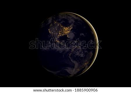 Ansicht Erde Planeten Orbit Nacht Seite Stock foto © evgeny89