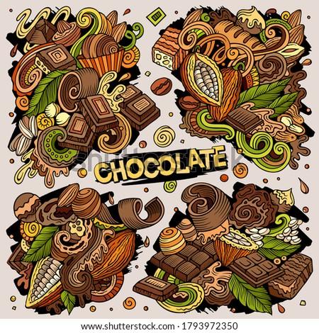 Vector doodles cartoon set of Chocolate combinations of objects Stock photo © balabolka