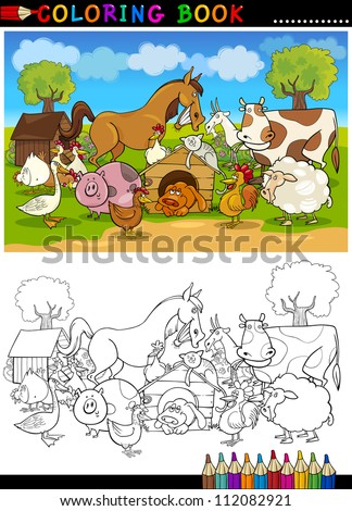 Cartoon grappig katten honden groep kleurboek Stockfoto © izakowski