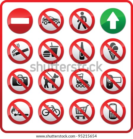 Set icons Prohibited symbols Shop signs Stock photo © Ecelop