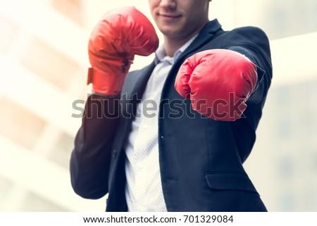 portre · işadamı · boks · eldivenleri · kamera · odak - stok fotoğraf © wavebreak_media