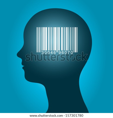 Consumer barcode in a female head Stock photo © adrian_n