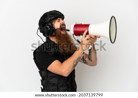 redhead soldier with loudspeaker on white stock photo © elnur