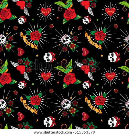 Stock photo: Cartoon Skulls with Hearts on Red Background Seamless Pattern