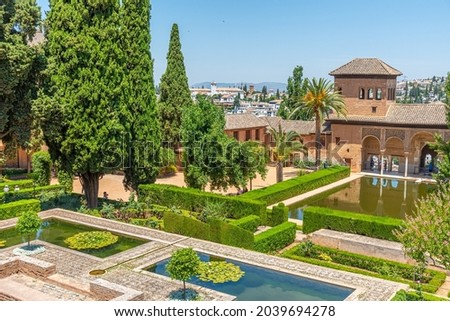 Alhambra Courtyard El Partal Pool Garden Reflection Granada Anda Stock photo © billperry