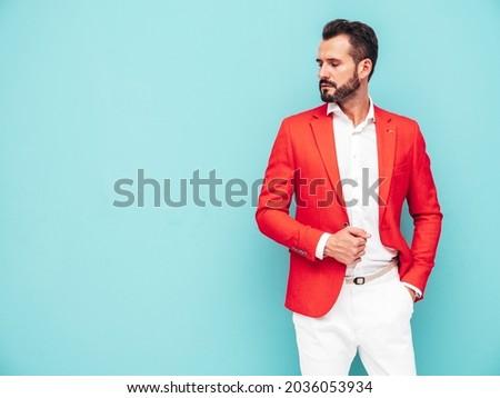 sensual · pose · homem · de · negócios · estúdio · cinza · escritório - foto stock © elwynn