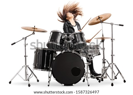 Mulher tambor isolado branco feliz arte Foto stock © Elnur