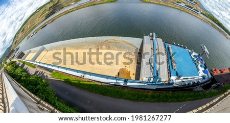 statek · towarowy · dunaj · dolinie · obniżyć · Austria · wody - zdjęcia stock © meinzahn
