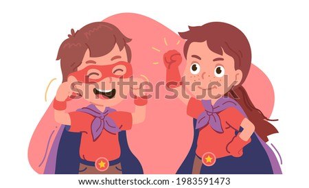 Two children wearing superhero costume standing with hands on hip stock photo © wavebreak_media