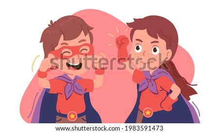 Stock fotó: Kettő · gyerekek · visel · szuperhős · jelmez · áll