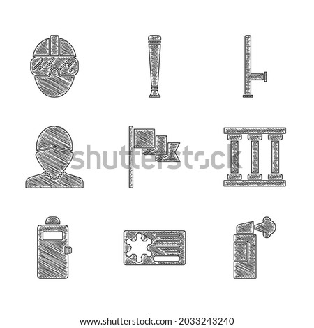 Policeman with shield and baton sketch icon. Stock photo © RAStudio