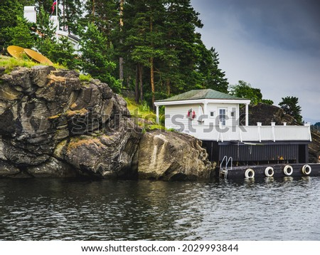 Nordic lake landscape of a wooden dock at a rocky shore with pine trees stock photo © Mps197