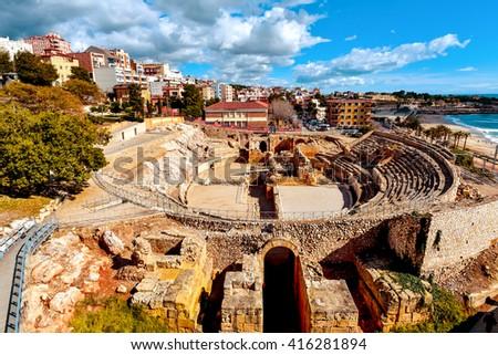 Roman Amphitheatre in Tarragona Stock photo © benkrut