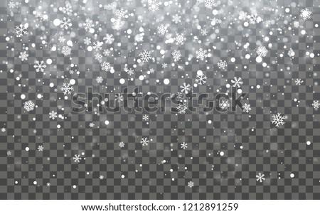 Christmas snow. Falling snowflakes on dark background. Snowflake transparent decoration effect. Xmas Stock photo © olehsvetiukha