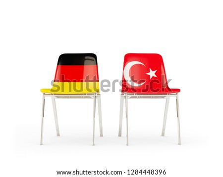Two chairs with flags of germany and turkey isolated on white Stock photo © MikhailMishchenko