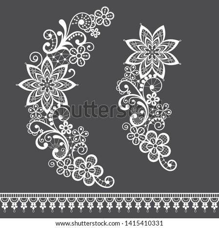 Retro wedding lace vector single design set, ornamental pattern with roses, flowers and swirls, deta Stock photo © RedKoala