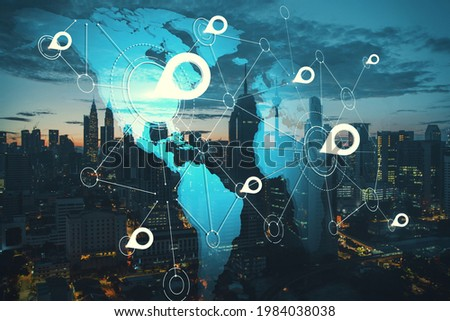 World map empty template with globe city network Stock photo © cienpies