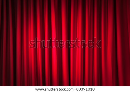 Bright red curtain with bright spotlight lighting, retro theater stage wide background Stock photo © evgeny89