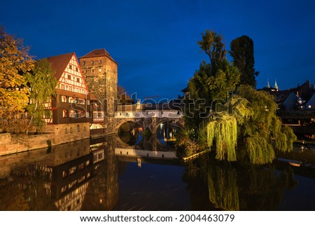 Nuremberg city houses on riverside of Pegnitz river. Nuremberg, Franconia, Bavaria, Germany Stock photo © dmitry_rukhlenko