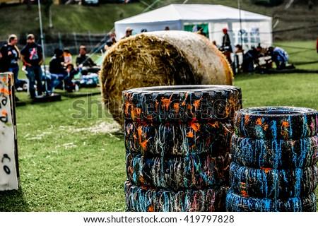 Paintball speler ontspannen fiche grunge sport Stockfoto © grafvision