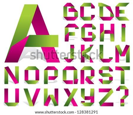 Stock photo: Alphabet folded paper - Green letters.