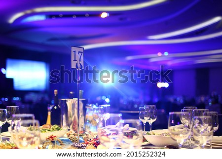 banquet hall laid for the festive evening Stock photo © OleksandrO